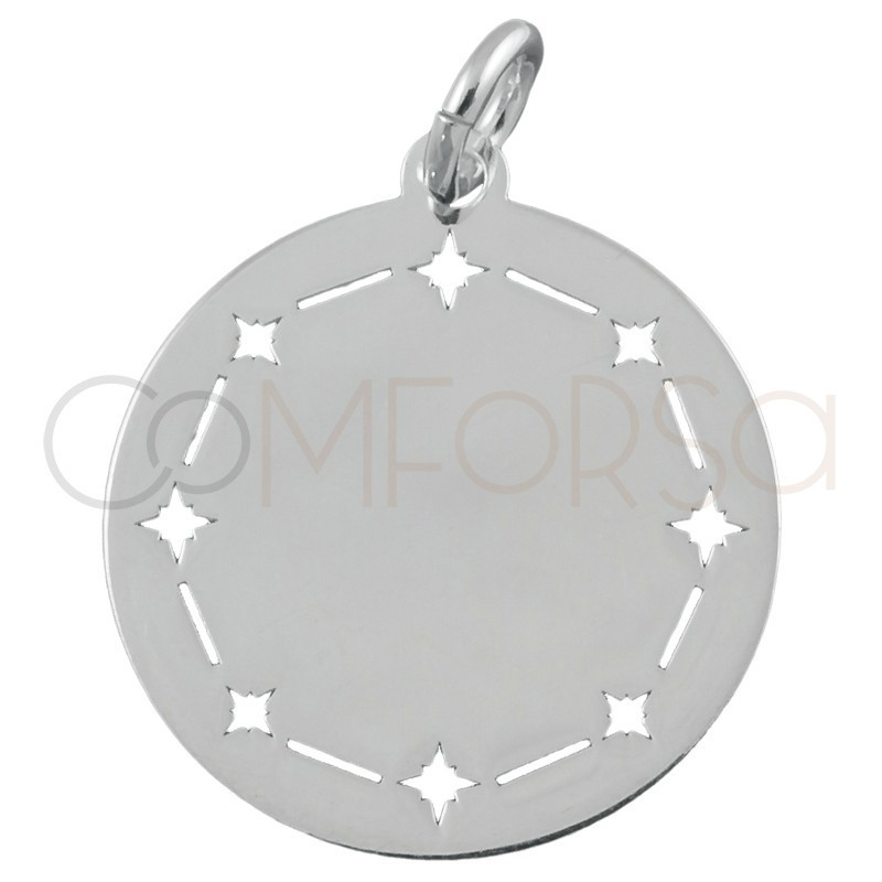 Sterling silver 925 plain pendant with north stars 20mm