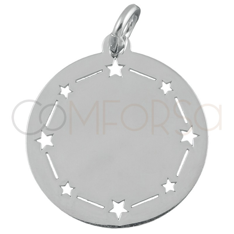 Sterling silver 925 plain pendant with stars 20mm