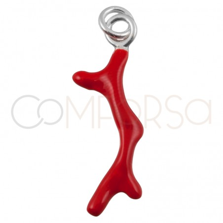 Sterling silver 925 coral pendant 6x20mm