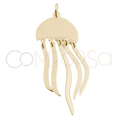 Colgante medusa 15 x 10mm plata chapada en oro