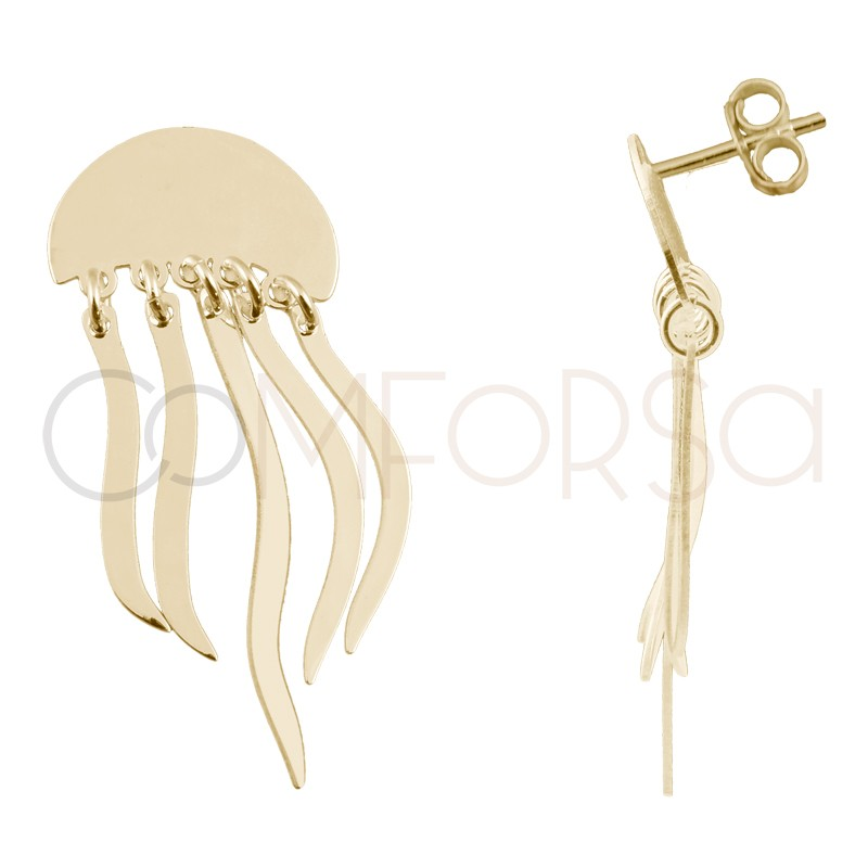 Sterling silver 925 gold-plated jellyfish earrings 15 x 10mm