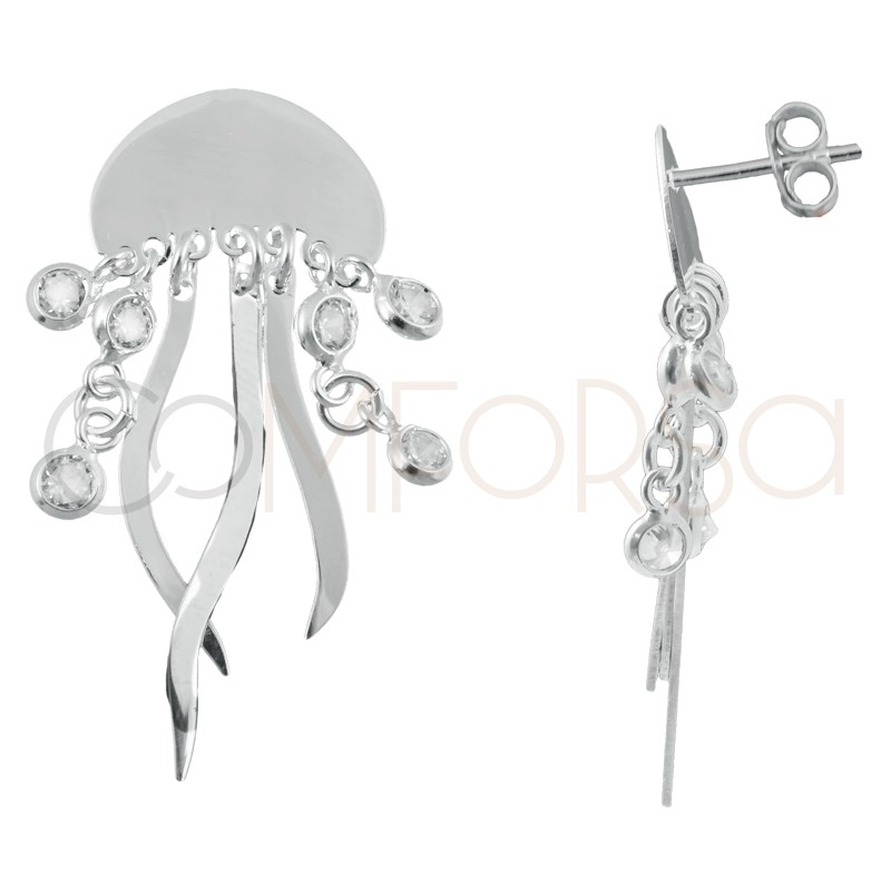Sterling silver 925 jellyfish earrings with zirconias 15 x 10mm