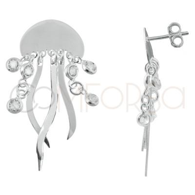 Pendiente medusa con circonitas 15 x 10mm plata chapada en oro