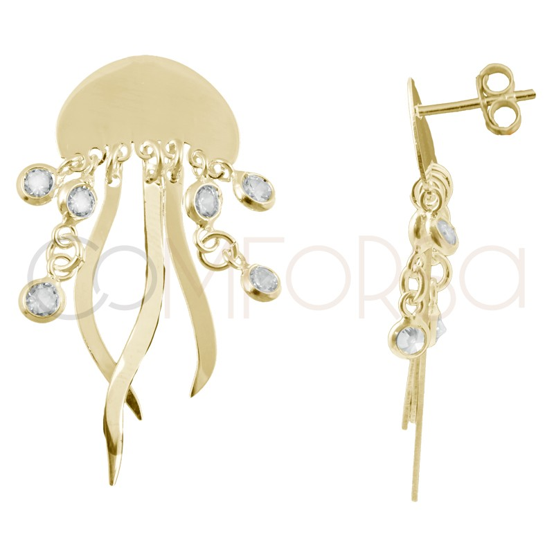 Sterling silver 925 gold-plated jellyfish earrings with zirconias 15 x 10mm