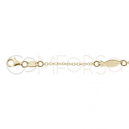 Sterling silver 925 gold-plated sea creature anklet 21cm