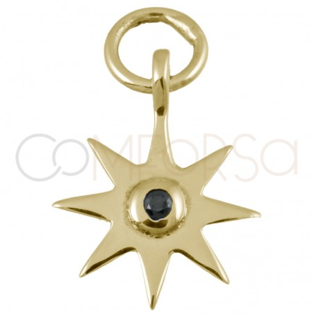 Sterling silver 925 star pendant with jet zirconia 10mm