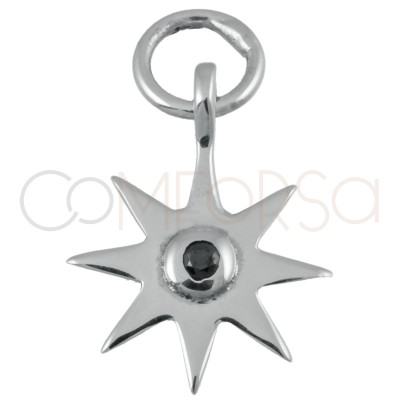 Sterling silver 925 gold-plated star pendant with jet zirconia 10mm