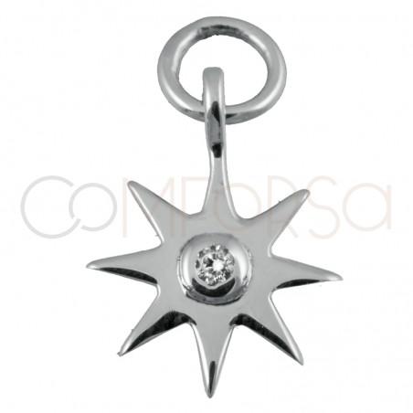 Colgante estrella circonita Cristal 10 mm plata 925