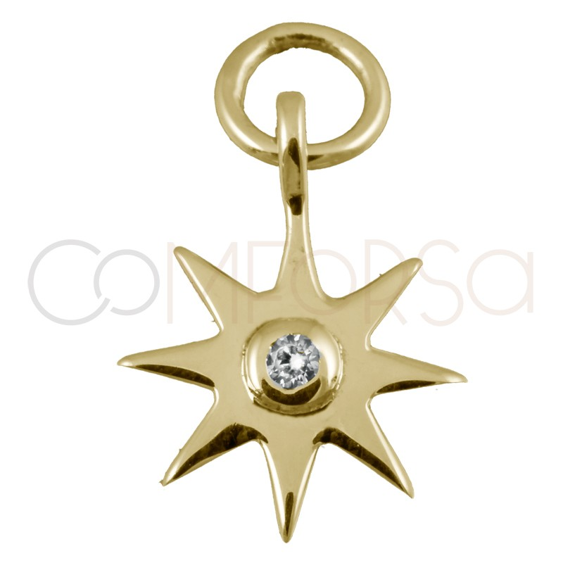 Sterling silver 925 gold-plated star pendant with crystal zirconia 10mm