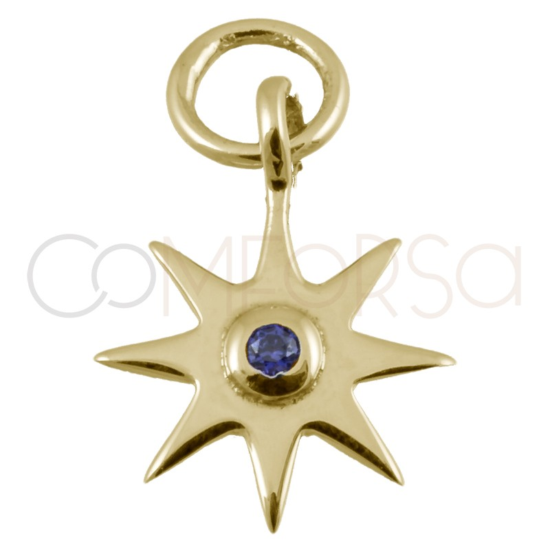 Sterling silver 925 gold-plated star pendant with amethyst zirconia 10mm
