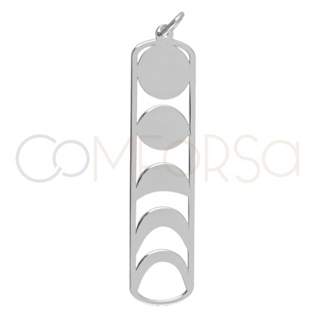 Sterling silver 925 gold-plated lunar phases pendant 10x42mm