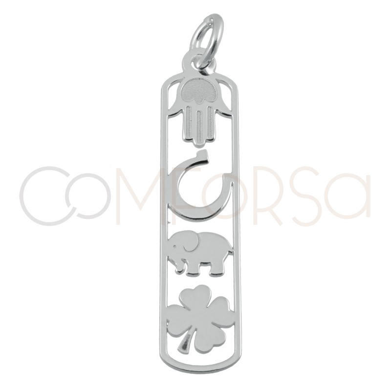 Sterling silver 925 lucky pendant  6.5x27mm
