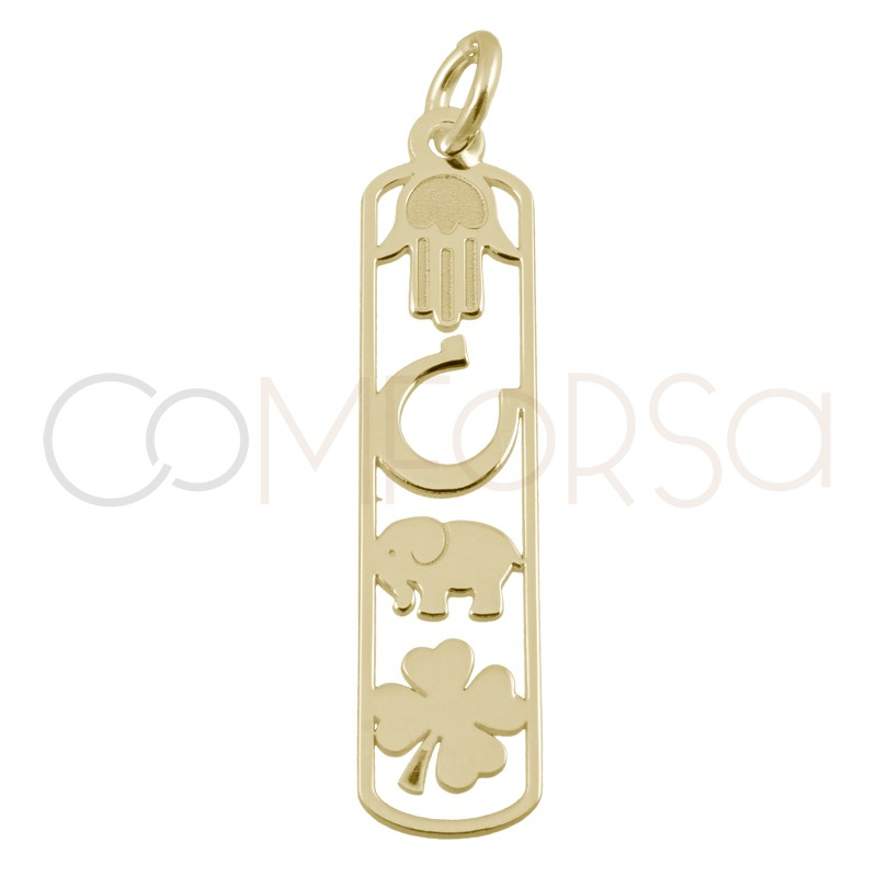 Sterling silver 925 gold-plated lucky pendant  6.5x27mm