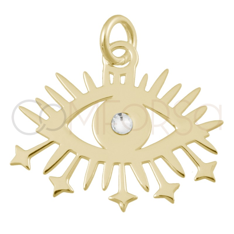Sterling silver 925 gold-plated eye pendant  20x7mm