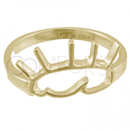 Sterling silver 925 gold-plated eye ring 13x9mm
