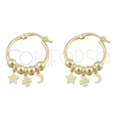Sterling silver 925 gold-plated hoop earring star - clover - moon 15mm