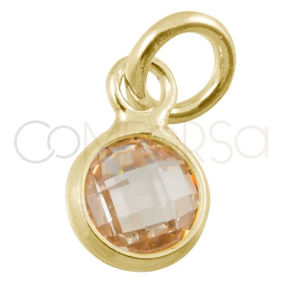 Sterling silver 925 gold-plated mini zirconia pendant champagne 4.5mm