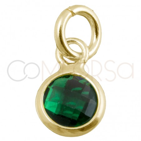 Sterling silver 925 gold-plated mini zirconia pendant green 4.5mm