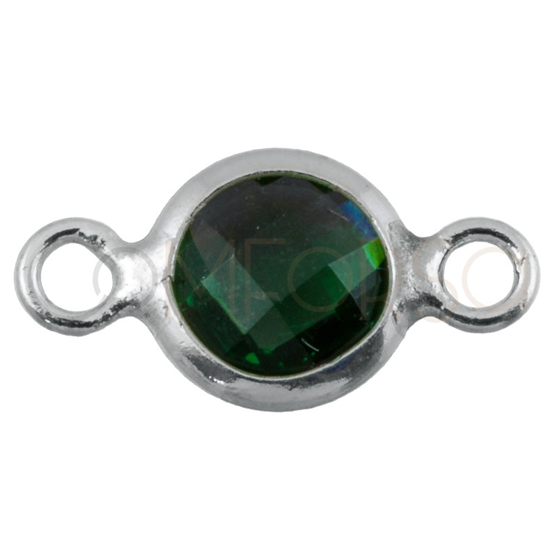 Sterling silver 925 gold-plated mini zirconia connector green 4.6mm