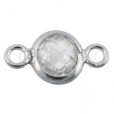 Sterling silver 925 mini zirconia connector crystal 4.6mm