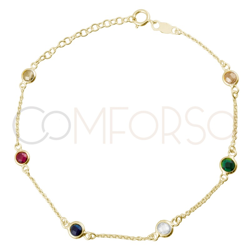 Sterling silver 925 gold-plated colorful zirconias bracelet 17+3.5cm