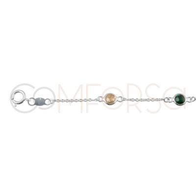 Sterling silver 925 colorful zirconias bracelet 17+3.5cm
