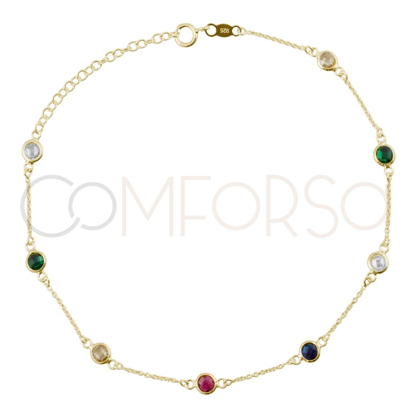 Sterling silver 925 gold-plated multi-color zirconias anklet 21+4cm