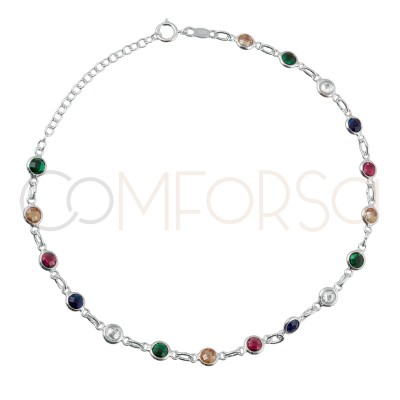 Sterling silver 925 gold-plated colorful zirconias anklet 21+4cm