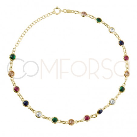 Sterling silver 925 colorful zirconias anklet 21+4cm