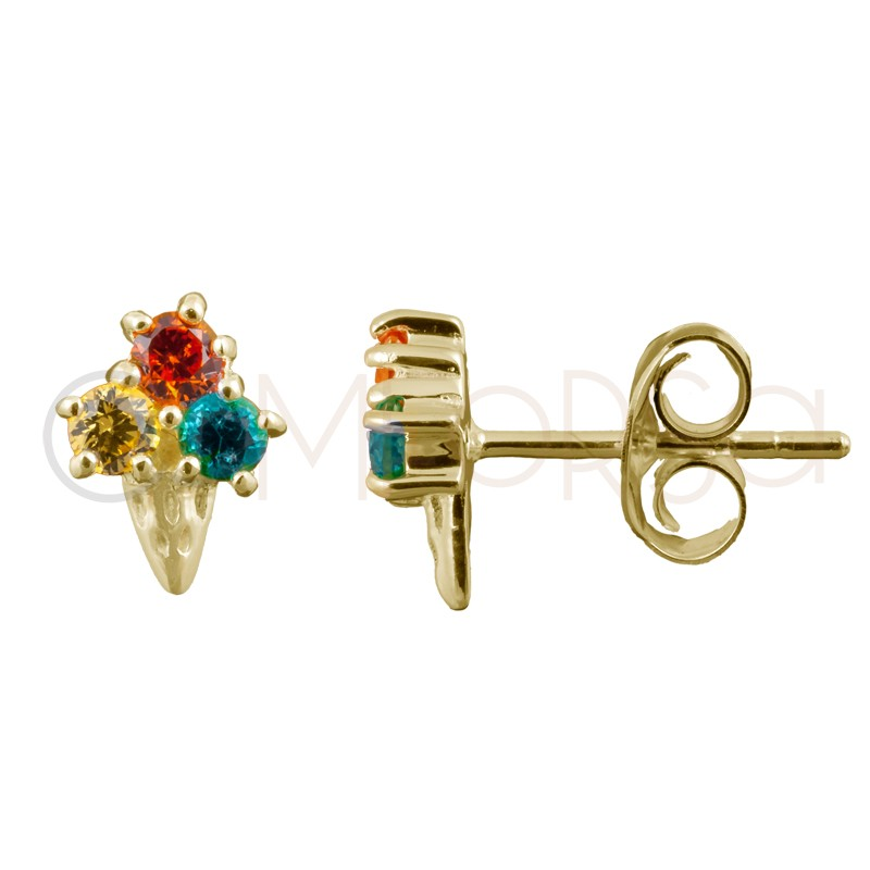 Sterling silver 925 gold-plated ice cream earrings 6.5x8.5mm
