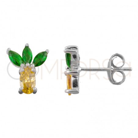 Sterling silver 925 gold-plated pineapple earrings 8x10mm