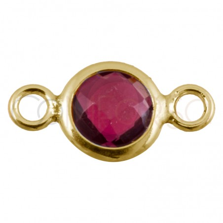 Sterling silver 925 gold-plated mini zirconia connector fuchsia 4.6mm