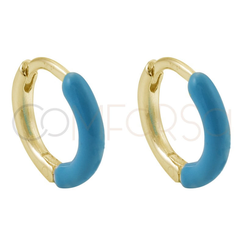 Sterling silver 925 gold-plated turquoise enamel hoop earrings 12 mm