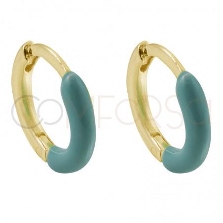 Sterling silver 925 gold-plated green enamel hoop earrings 12 mm