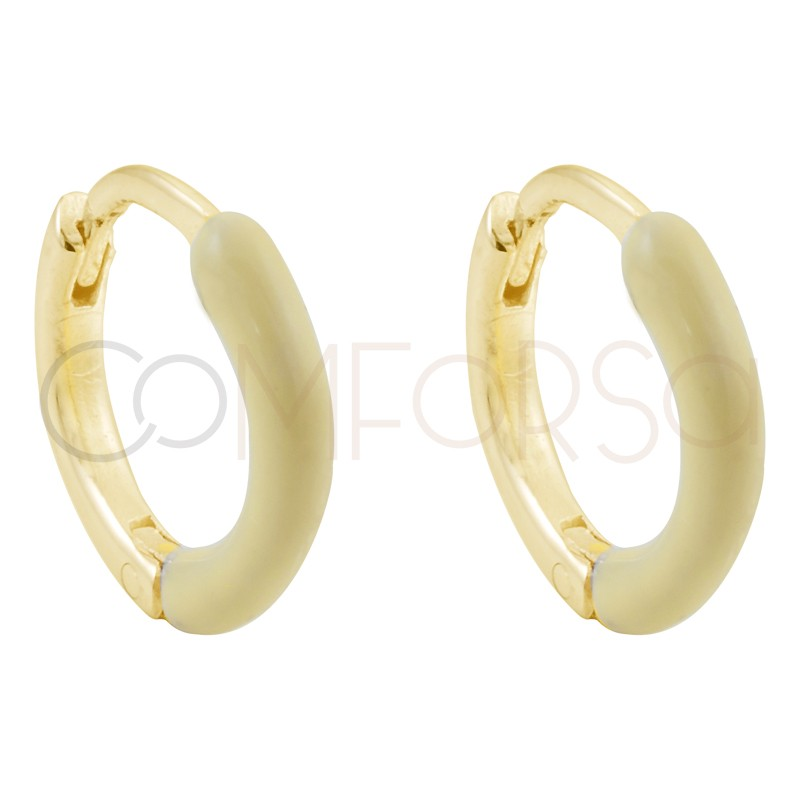 Sterling silver 925 gold-plated yellow enamel hoop earrings 12 mm