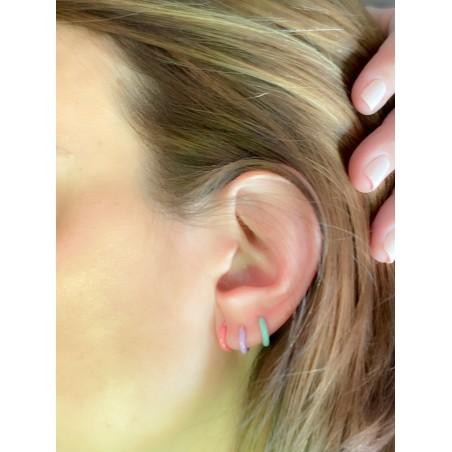 Sterling silver 925 gold-plated red enamel hoop earrings 12 mm