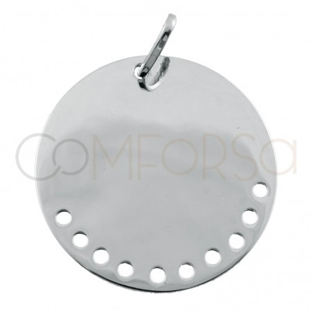 Engraving + Sterling silver 925 pendant with drilled holes 20mm