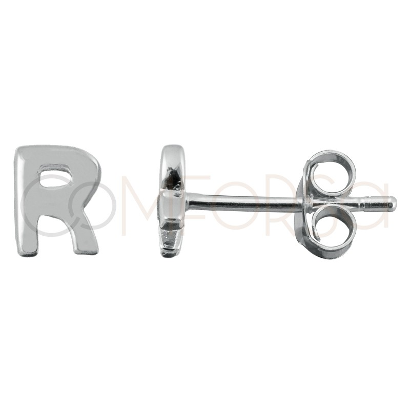 Sterling silver 925 letter R earrings