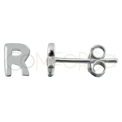 Sterling silver 925 gold-plated letter R earrings