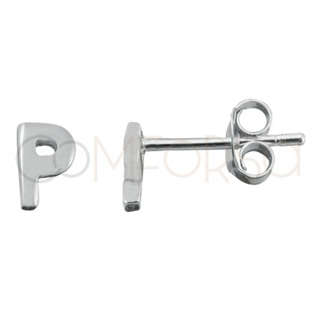 Sterling silver 925 gold-plated letter P earrings