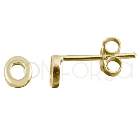 Sterling silver 925 gold-plated letter O earrings