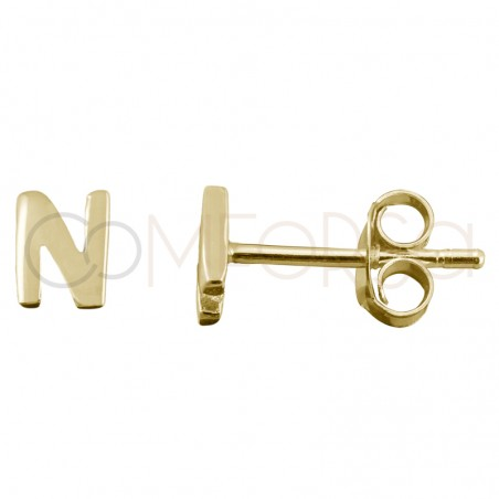 Pendiente mini letra N 4.5mm plata chapada en oro