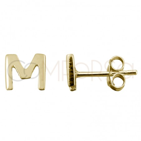 Sterling silver 925 gold-plated letter M earrings