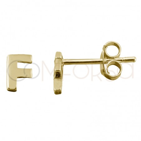 Sterling silver 925 gold-plated letter F earrings
