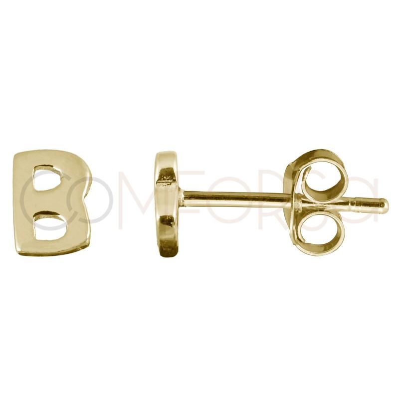 Sterling silver 925 gold-plated letter B earrings
