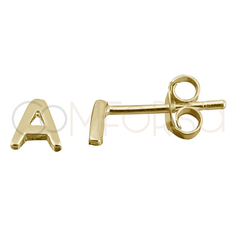 Sterling silver 925 gold-plated letter a earrings
