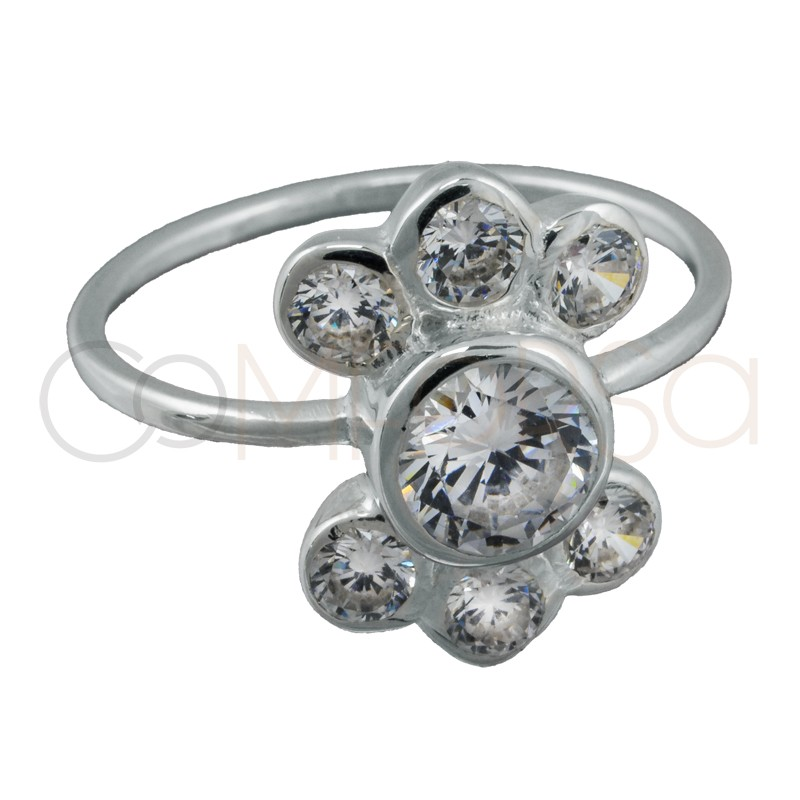 Sterling silver 925 ring with small and large zirconias