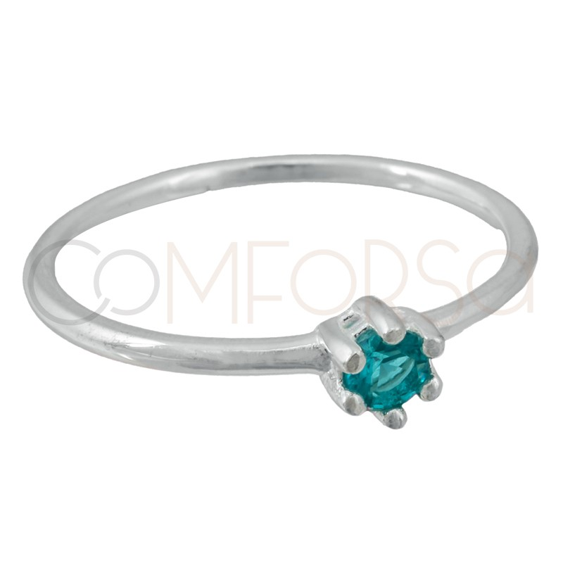 Sterling silver 925 ring with turquoise zirconia