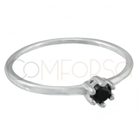 Sterling silver 925 ring with Jet zirconia