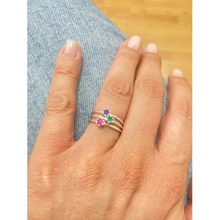 Sterling silver 925 ring with amethyst zirconia